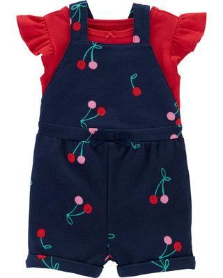全新正品 Carter's Flutter Tee Cherry Shortalls 紅色短袖上衣小櫻桃連身褲套組24M