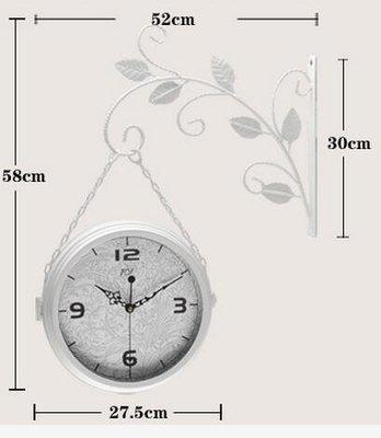 TQJ/鐵藝簡約田園雙面掛鐘/客廳過道靜音掛表/鐘表/2689 裝飾掛鐘