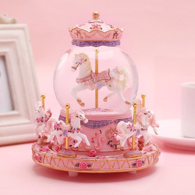 奇奇店-旋轉木馬音樂盒水晶球八音盒生日禮物送女生女朋友小女孩兒童實用(款式不同價格不同)
