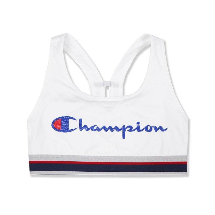【Champion】女款運動內衣藍字LOGO白 F07190903-35