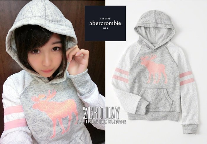 a&f abercrombie&fitch真品girl lace-sleeve graphic hoodie麋鹿連帽T灰