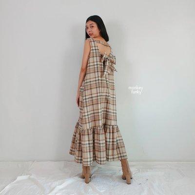 🇹🇭泰國設計師品牌monkey funky後綁帶蝴蝶結格紋洋裝