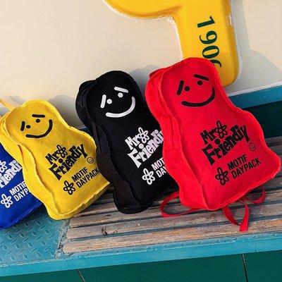 小花精品店-日本小眾個性女輕便時髦笑臉雙肩包 書包校園搞怪個性bf雙肩背包
