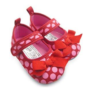 BHA002-Mothercare 水玉圓點蝴蝶結嬰兒軟底防滑學步鞋【出清價】100元