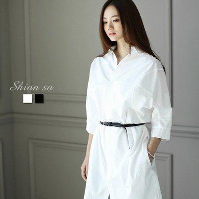 享瘦衣身中大尺碼【B1278】雙側邊口袋長版襯衫