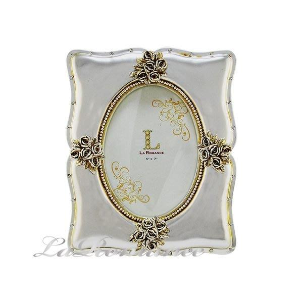 【芮洛蔓 La Romance】燦銀玫瑰銀箔單張5 x7 相框 (中) / 相本 / 照片 / 紀念日 / 結婚禮物