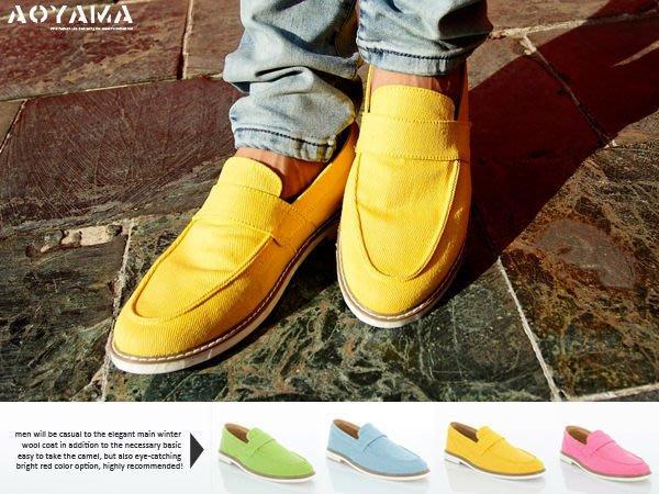 [青山~AOYAMA ] 韓版馬卡龍色系窄版工作褲穿搭手工打造搶眼帆船鞋/粗斜紋鞋 4色【WS502】