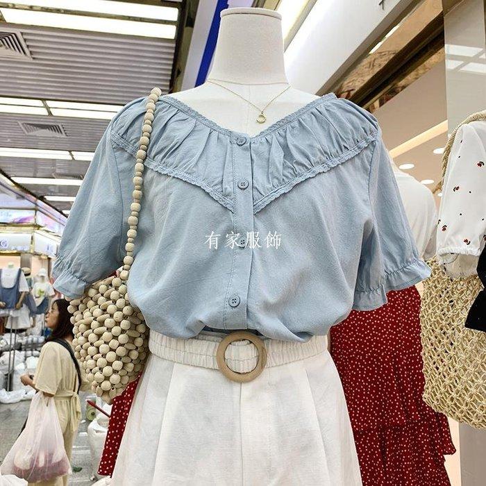 有家服飾夏季新款女裝凈色v領拼接蕾絲邊單排扣時尚氣質寬松休閒甜美襯衣