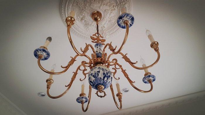 ~Cotton Milk 雜貨散步~ 歐洲古董雜貨~ 法國1950' 青花瓷魚龍銅吊燈---(華麗收藏款)