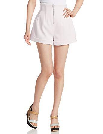 [二手]日本正品 Snidel 粉嫩拉鍊高腰西裝短褲(淡粉)