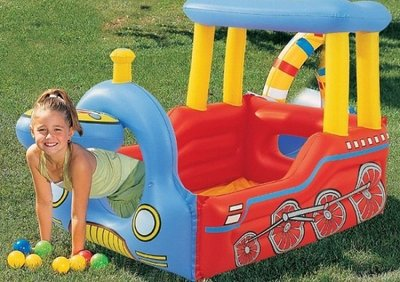 BESTWAY火車造型充氣遊戲池/球池~孩子的快樂城堡~◎童心玩具1館◎