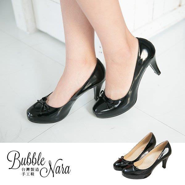 Bubble Nara 波波娜拉~吉賽兒時尚簡約厚底高跟鞋。黑色。厚切軟墊soft舒適感,魔力曲線J50812