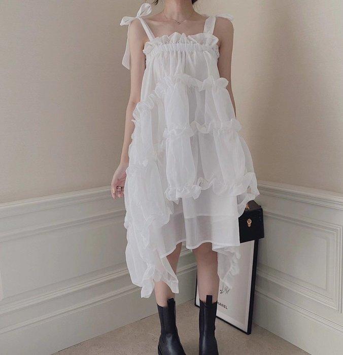 PapaDarling 20SSw 百搭暗黑系蓬蓬吊帶裙 洋裝