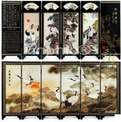 INPHIC-6扇小屏風家居裝飾擺飾特色精美祝壽 松鶴延年