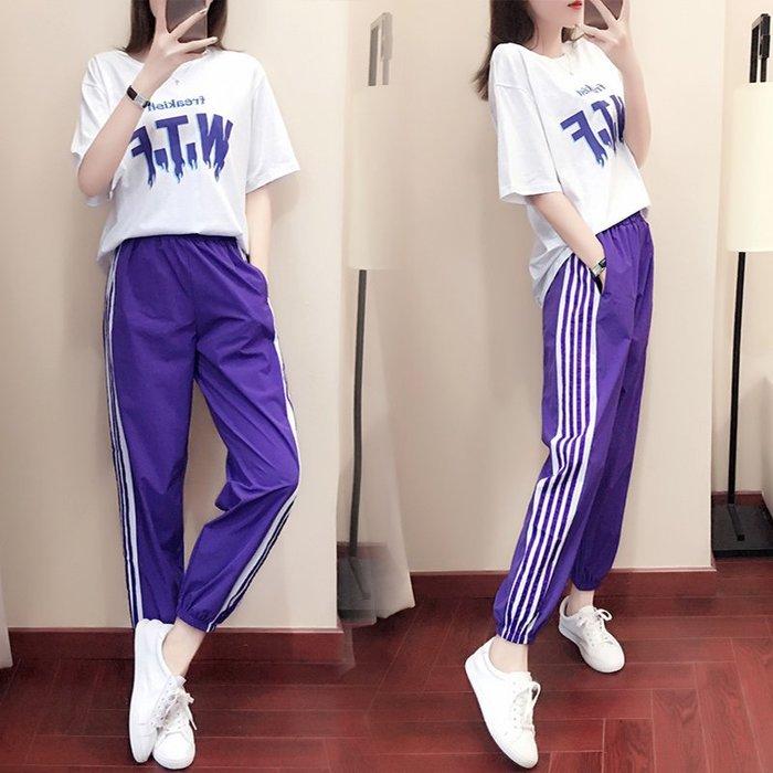 2019夏季新款運動女寬鬆韓版時尚運動服休閒兩件套裝顯瘦潮夏天潮