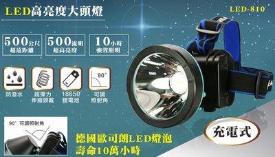 ☆台南PQS☆【KINYO】充電式LED高亮度大頭燈(LED-810) 90度上下調整 頭燈 18650鋰電池