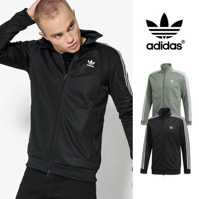 【GT】Adidas Originals 黑綠 外套 運動 休閒 復古 素色 立領 棉質 愛迪達 三葉草 三條線 基本款