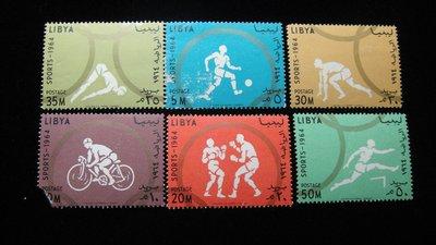 【大三元】歐洲郵票- 利比亞-各國專題郵票-運動-新票6枚-原膠