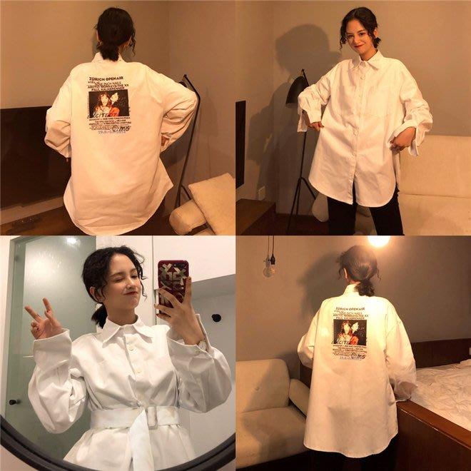 FINDSENSE G6 韓國時尚潮流 2019新款原宿襯衣薄外套寬鬆長袖襯衫女裝上衣