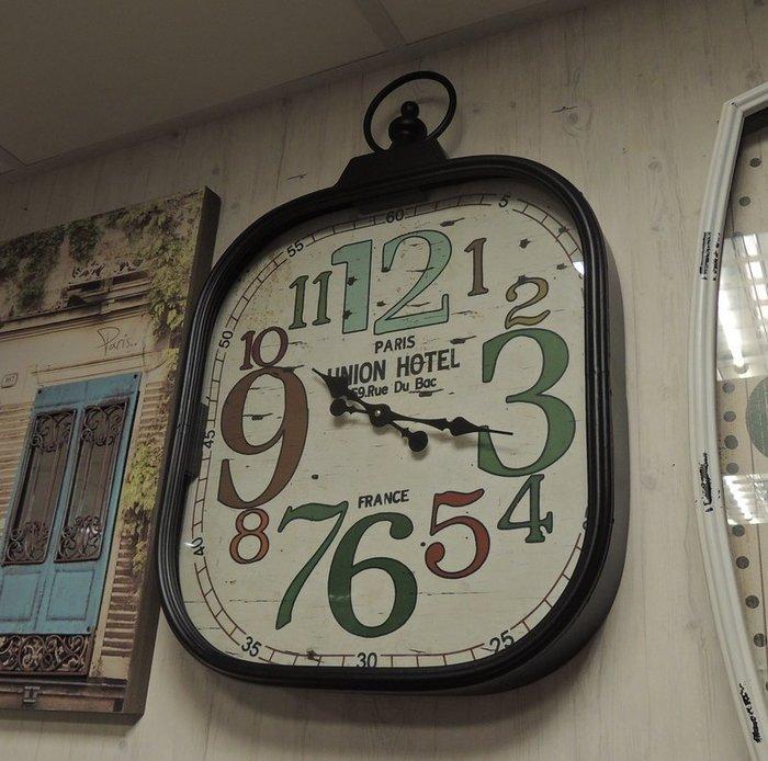 仿舊大型工業風數字鐘 工業風時鐘 大數字壁鐘 掛鐘 方型鐘 大時鐘 造型壁鐘 大壁鐘 寬45*高67公分 LOFT壁飾