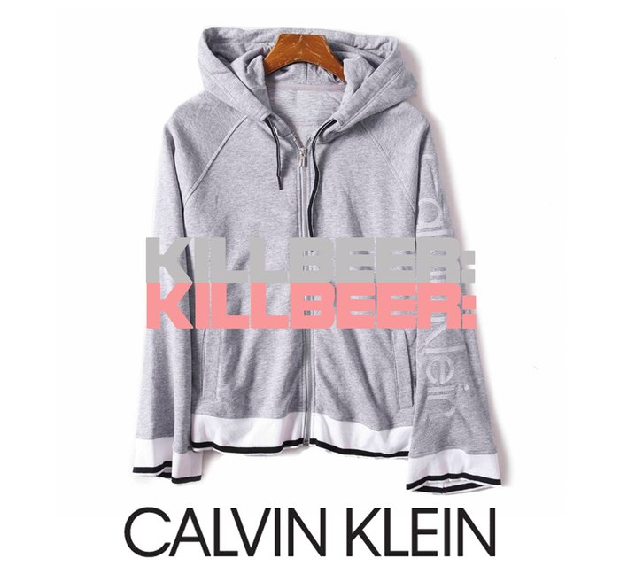 KillBeer:代購✈✈CALVIN KLEIN CK歐美經典休閒刺繡logo條紋運動風超舒適棉質連帽外套010703