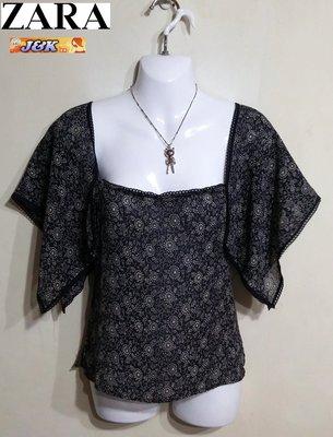 【J&K嚴選】日版ZARA 罩衫 紗質上衣 短袖  女款-顏色: 黑花 尺寸: M【50%特賣】哦我的鬼神大人