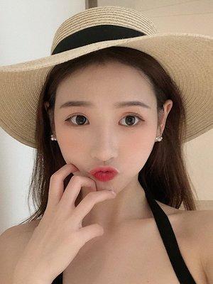 看的微笑小珍珠耳環女韓國通勤簡約百搭鋯石耳釘耳飾E919