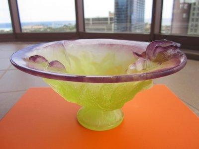 法國頂級琉璃品牌【DAUM】綠色+紫色 琉璃 水晶缽 水晶碗 擺飾 保證全新正品/真品 現貨在台