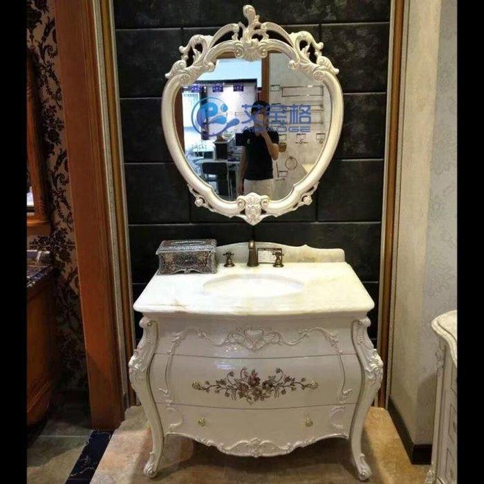 浴櫃 仿古歐式衛生間洗臉盆衛浴櫃橡木組合實木浴室櫃落地櫃洗手台盆 一件免運