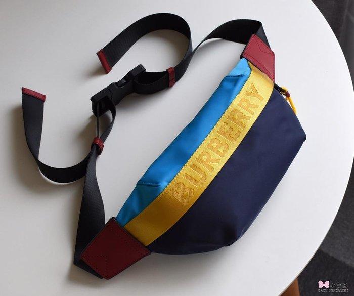 【小黛西歐美代購】Burberry 巴寶莉 2019款 尼龍橫條配色腰包 歐美時尚  美國outlet代購