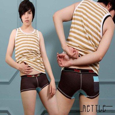 METTLE 拼布牛仔後口袋系列 褲頭帥氣 率性.舒適質感 double 中性女孩首選 平口褲搶先上市-7735BR