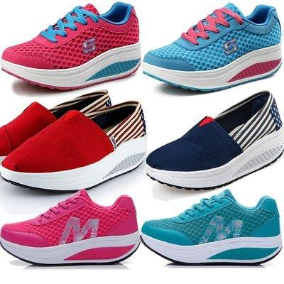 限時優惠  時尚健康運動健走鞋 慢跑鞋 平底鞋 厚底鞋 搖搖鞋 內增高鞋 增高約5cm