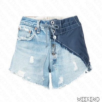 【WEEKEND】GREG LAUREN 異材質 拼接 不修邊 排扣 牛仔 短褲