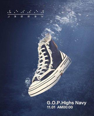 [FDOF] 預購 XVESSEL G.O.P. HIGHS NAVY 吳建豪 街頭 海軍藍高筒軟木硫化鞋