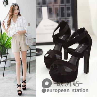 魚口涼鞋/夏季新款韓版高跟防水台粗跟鬆糕厚底羅馬女鞋子14cm