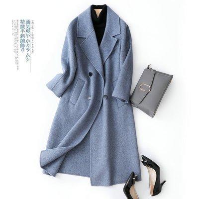 'OVERCOAT'霧霾藍人字紋雙面羊絨大衣女秋新款雙排扣毛呢外套簡單款
