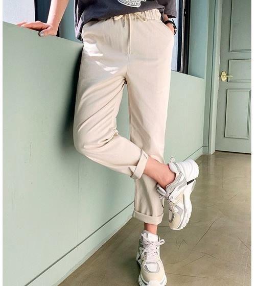 美麗喵。現貨 黑。正韓 韓國製 腰圍鬆緊 腰綁帶 春夏 休閒褲 老爺褲(2色)