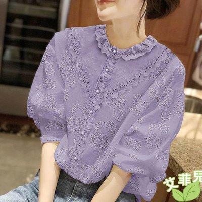 艾菲兒=紫色泡泡袖蕾絲燈籠袖襯衣=現貨、韓版、預購