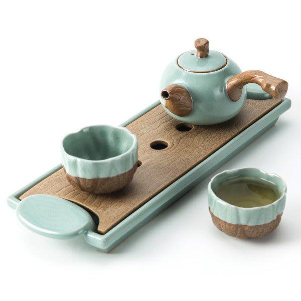 5Cgo【茗道】中式汝窯一壺兩杯2人陶瓷茶盤簡易家用小型辦公茶具套裝側把茶壺禮盒複古風可開片古樸585290252227