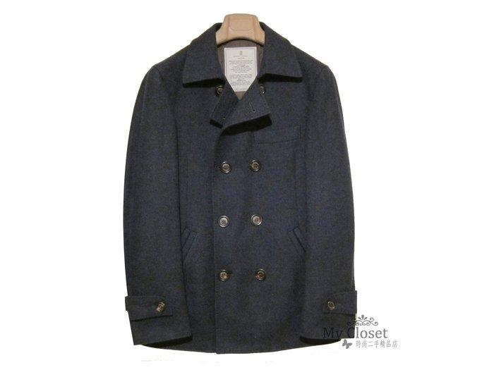 My Closet 二手名牌 BRUNBLLO CUCINELLI 男裝 全新深藍色鋪綿雙排釦外套