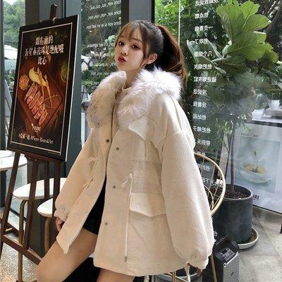 棉衣 羽絨服 麵包服 棉襖新款冬季女裝韓版寬松收腰可拆卸毛領加厚中長款棉衣棉服外套