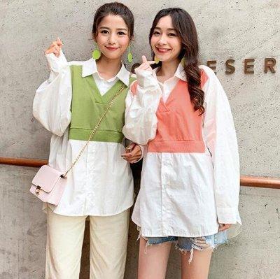 襯衫 閨蜜裝 韓版 拼接糖果色上衣 學院風假兩件襯衫  莎芭