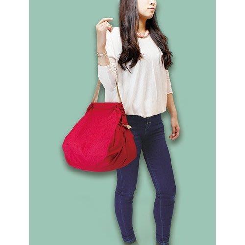 日本 Shupatto簡約風格超大容量折疊式萬用包/購物袋 紅色M號