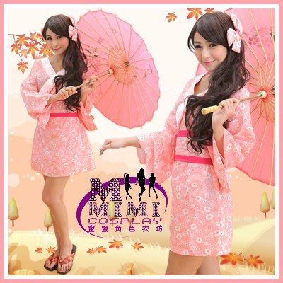 【T-133】初春連身短和服~專賣女僕裝.旗袍.生日禮物.下標就送蝴蝶髮飾~蜜蜜衣舖