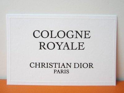 法國名牌【CHRISTIAN DIOR】迪奧 CD COLOGNE ROYALE 香水 試香紙卡 每張$10 保證全新正品/真品