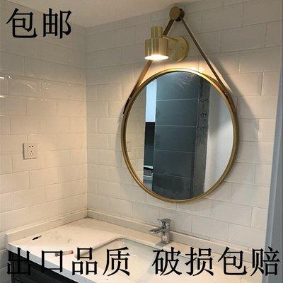 LED 化妝鏡 DIY鏡 梳妝鏡 鏡子 歐式鐵藝浴室鏡創意梳妝臺鏡子掛墻鏡壁掛鏡化妝鏡裝飾鏡復古圓鏡