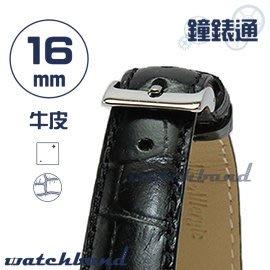【鐘錶通】C1.27I《亮彩系列》鱷魚格紋-16mm 墨黑┝手錶錶帶/皮帶/牛皮錶帶┥