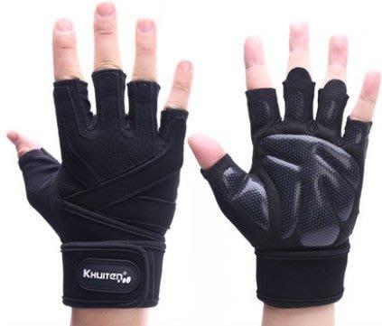 宙斯健身網-KHUITEN 熱銷進階款 矽膠防滑耐用舉重手套 重機 防寒 重訓手套 M(黑色) + BSN握力器
