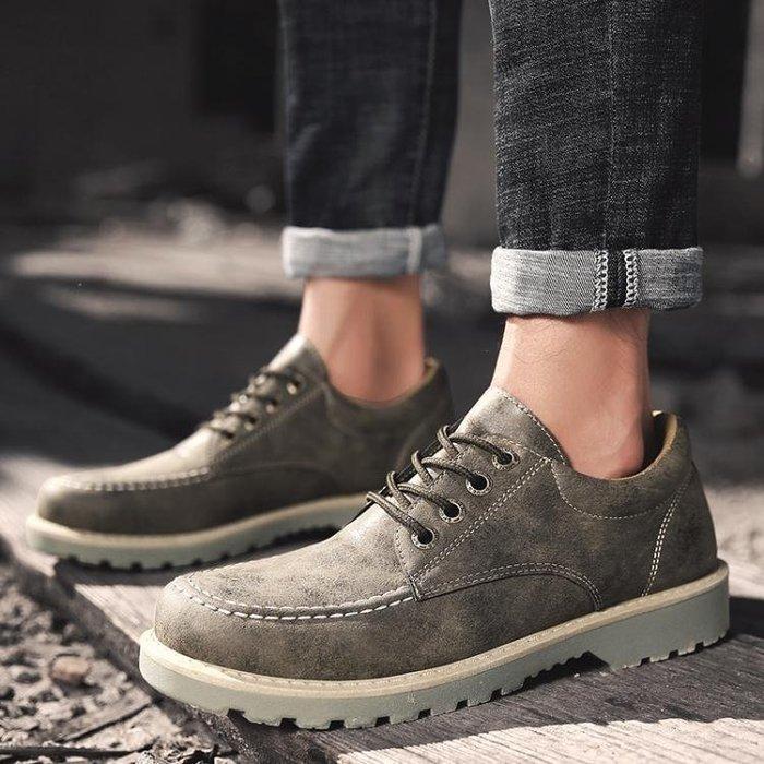 工裝鞋男鞋夏季潮鞋新款休閒鞋英倫皮鞋男低筒內增高馬丁大頭工裝鞋