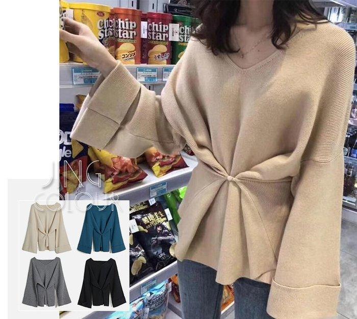 6色現貨在台灣♥️實拍【JinG】🌟兩穿🌟純色V領寬袖收腰顯瘦慵懶風針織毛衣 收腰上衣 針織上衣 毛衣